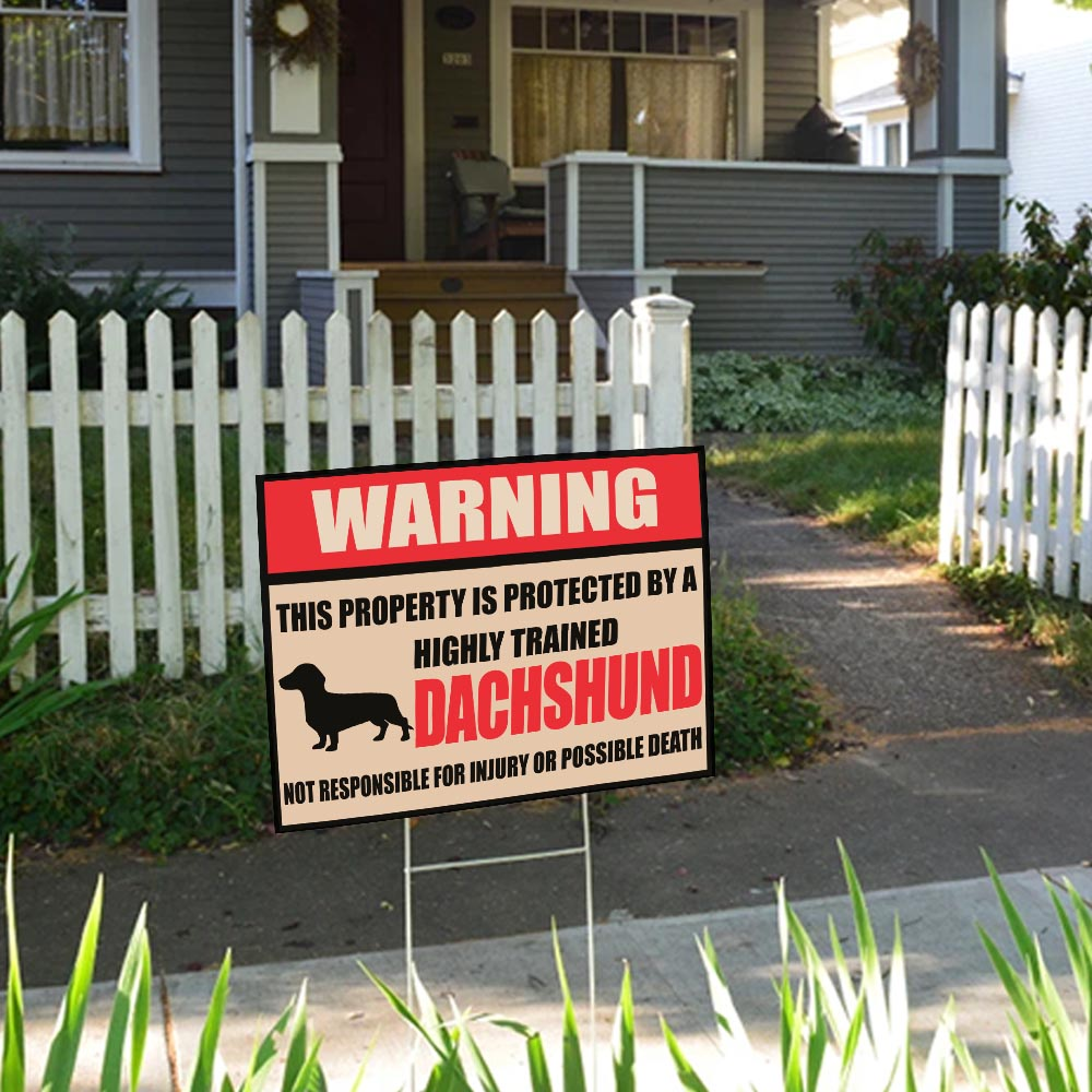"Warning This Property Is Protected By Dachshund Yard Sign 24""x18"""