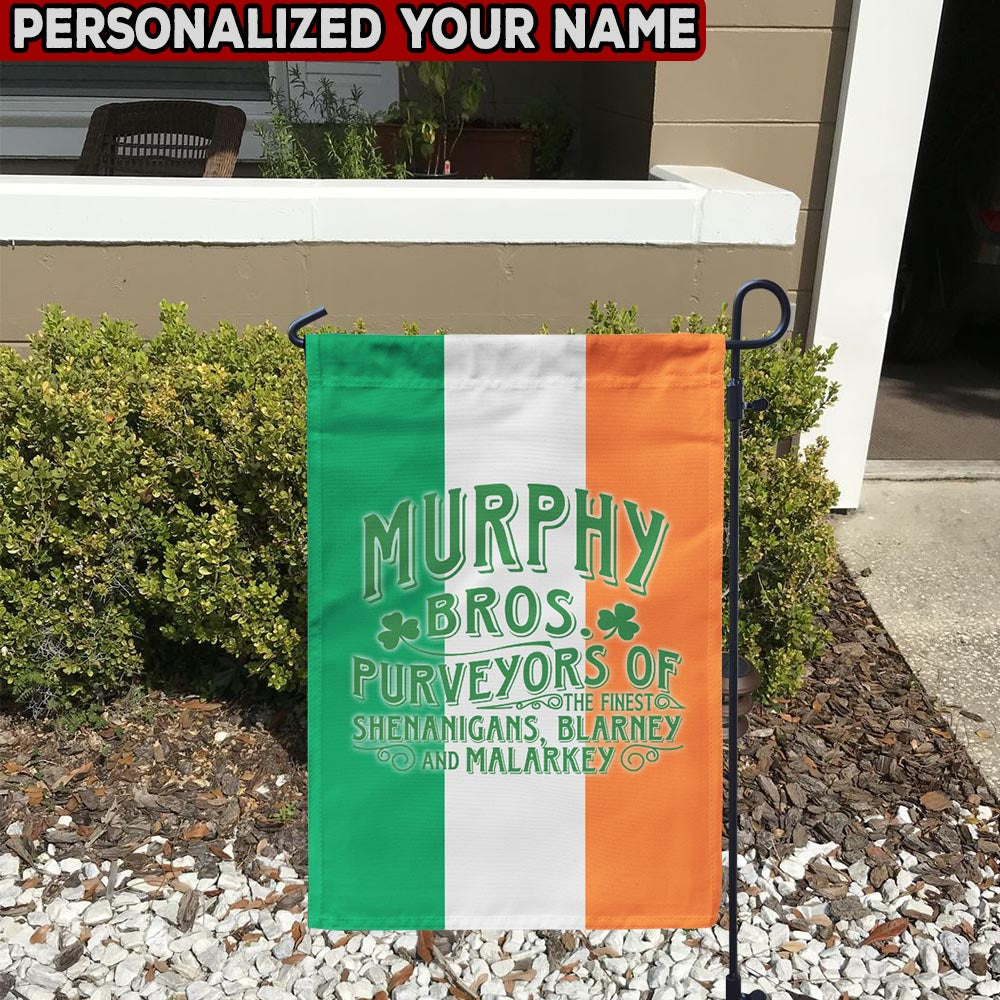 Irish Bros. Shenanigans Blarney Malarkey Personalized Garden Flag/Yard Flag 12 inches x 18 inches Twin-Side Printing