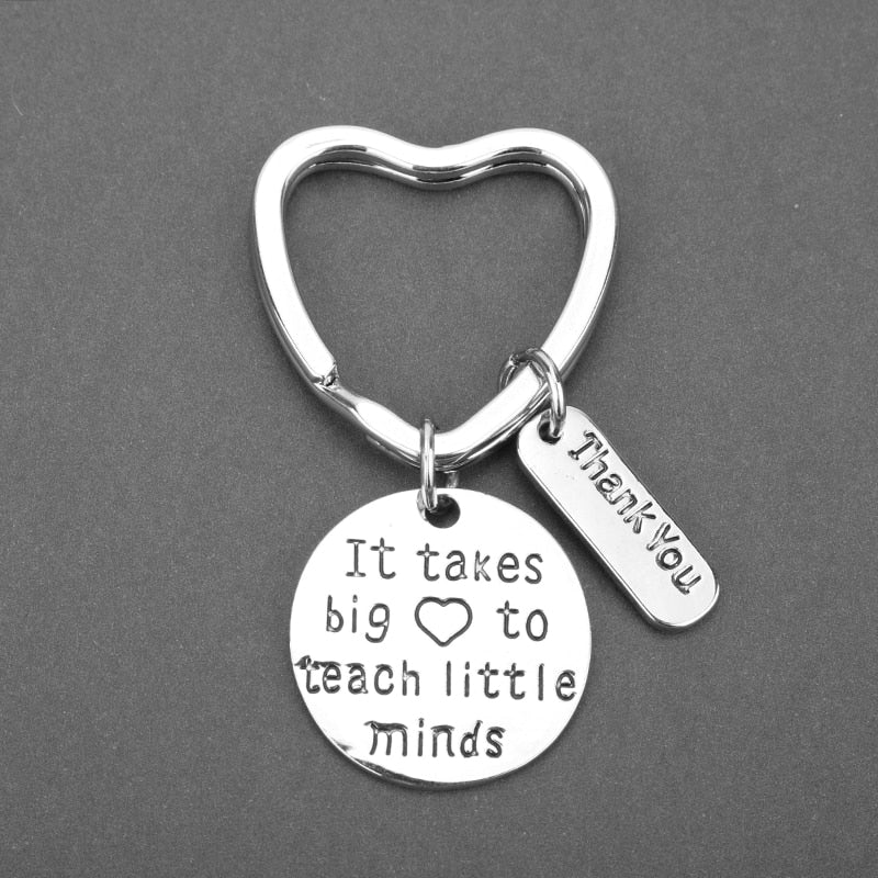 Teacher Keychain It takes a big heart to teach little minds Letter Keyring Key Ring Jewelry For Teachers Day Gift