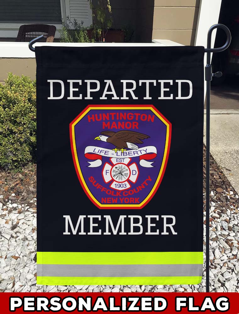 Huntington Manor FD Uniform Personalized Garden Flag/Yard Flag 12 inches x 18 inches Twin-Side Printing