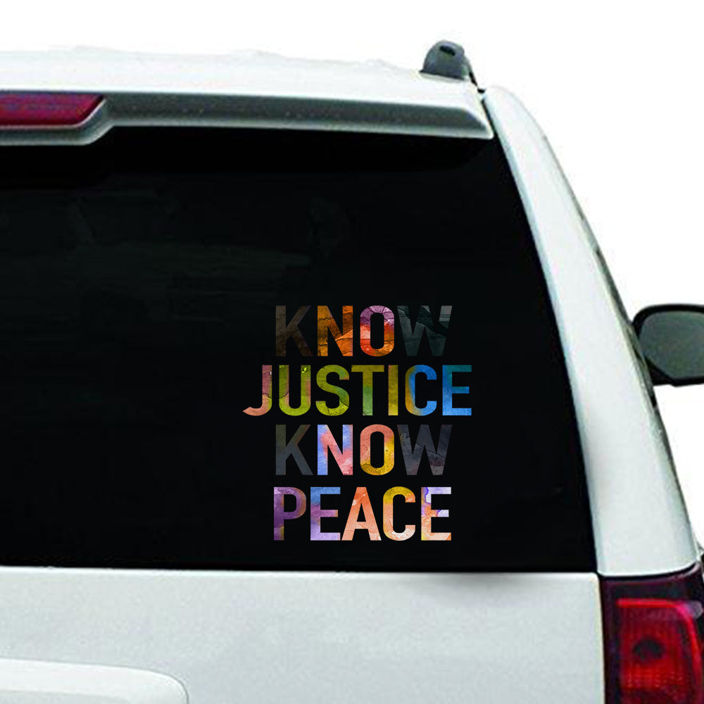 NO JUSTICE NO PEACE Clear Sticker
