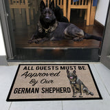 "All Guests Must Be Approved By Our BLACK GERMAN SHEPHERD Doormat 23.6"" x 15.7"""
