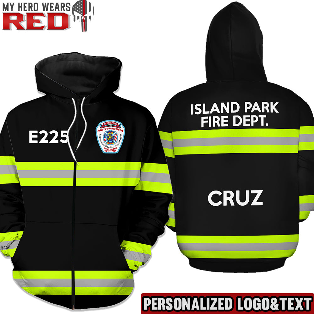 Firefighter Uniform Dark Tan 3 Text Lines Personalized Logo & Text 3D Hoodies