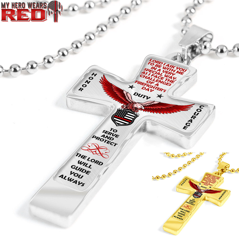 """HONOR DUTY COURAGE"" CROSS NECKLACE"