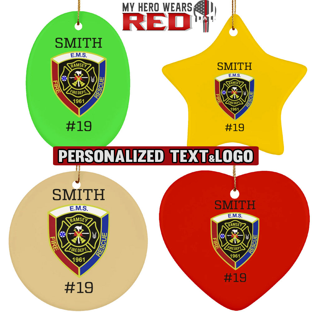 Firefighter Logo & Text Ceramic Circle Oval Heart Star Personalized Ornament