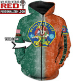 St. Patrick's Day Fire Dept. Personalized Logo 3D Hoodies