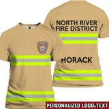 Firefighter Uniform Brown Personalized Logo & Text 3D Tees