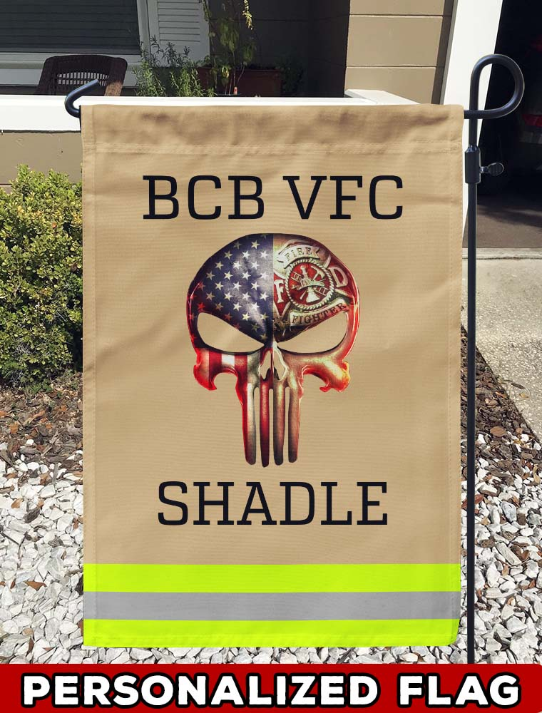 Skull Firefighter Uniform Personalized Garden Flag/Yard Flag 12 inches x 18 inches Twin-Side Printing