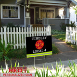 Firefighter Uniform Personalized Yard Sign 24 inches x 18 inches