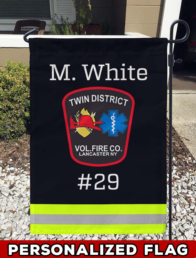 TWIN DISTRICT FIRE COMPANY Uniform Personalized Garden Flag/Yard Flag 12 inches x 18 inches Twin-Side Printing