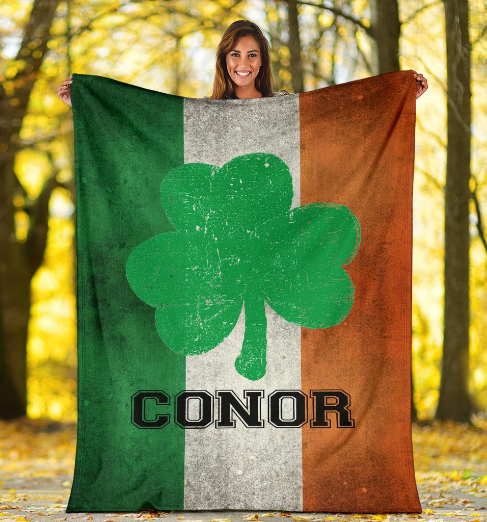 "Shamrock Personalized Name VPL Cozy Plush Fleece Blanket - 60""x80"""