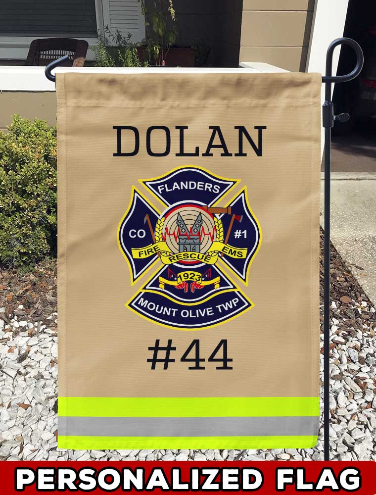 Flanders Fire Co. #1 And Rescue Squad Uniform Personalized Garden Flag/Yard Flag 12 inches x 18 inches Twin-Side Printing