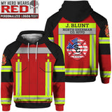 Firefighter Uniform Personalized Logo & Text 3D Tees Zip Hoodies