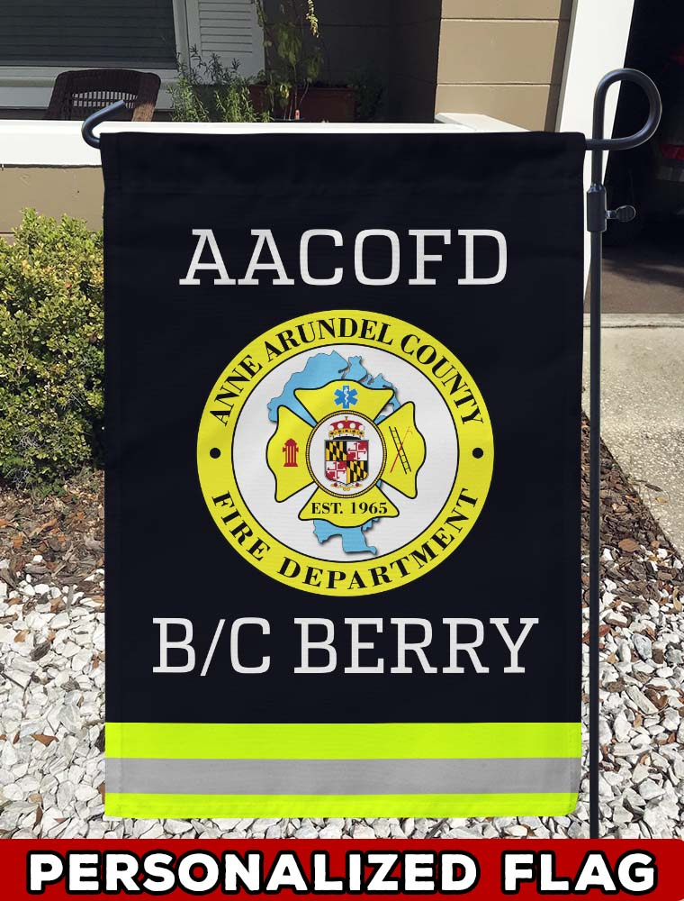 firefighter flag Anne Arundel County FD Uniform Personalized Garden Flag/Yard Flag 12 inches x 18 inches Twin-Side Printing