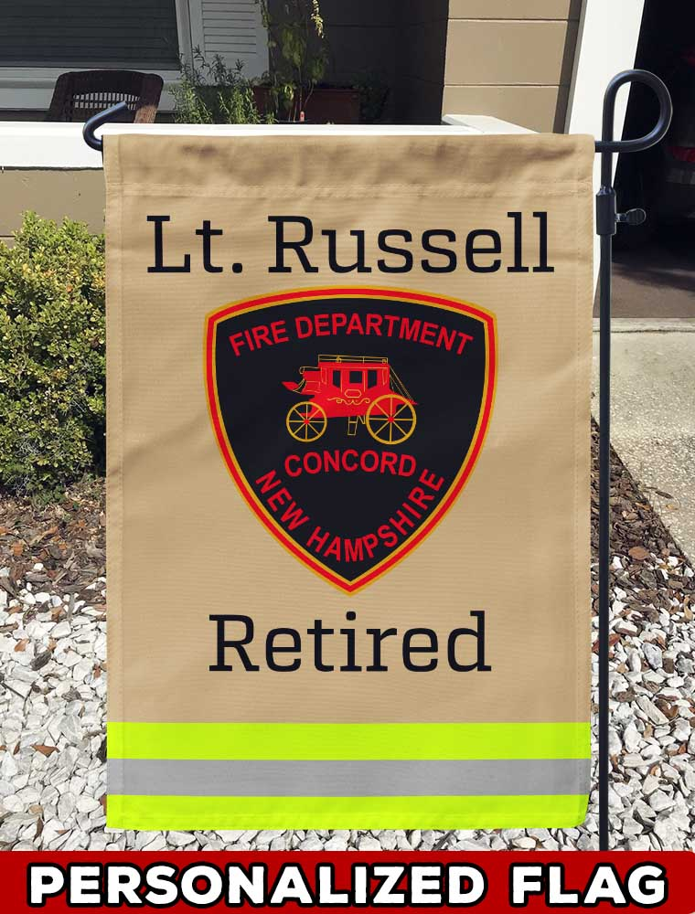 Concord NH Fire Department Uniform Personalized Garden Flag/Yard Flag 12 inches x 18 inches Twin-Side Printing firefighter flag