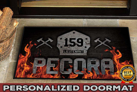 "Welcome Firefighter Personalized Doormat 23.6"" x 15.7"""