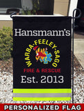 Warba Feeley Sago Fire Dept Uniform Personalized Garden Flag/Yard Flag 12 inches x 18 inches Twin-Side Printing