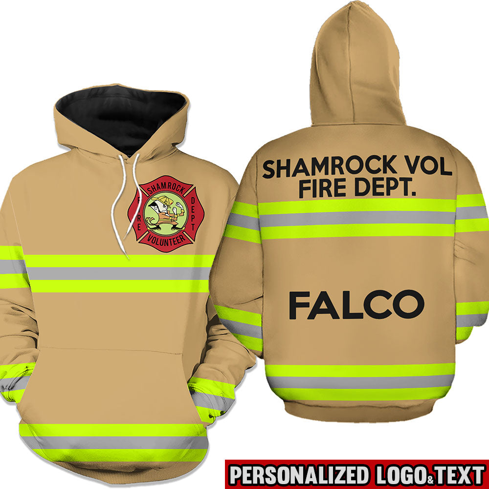 Firefighter Uniform Personalized Logo & Text 3D Hoodies-Line Green-text white