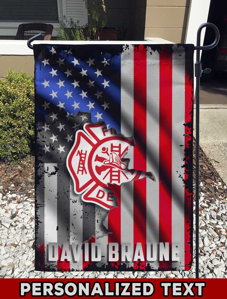 Fire Dept Logo Personalized Garden Flag/Yard Flag 12 inches x 18 inches Twin-Side Printing