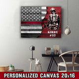 "Firefighter - Thin Red Line Flag Text Framed Personalized Canvas Print 20""x16"""