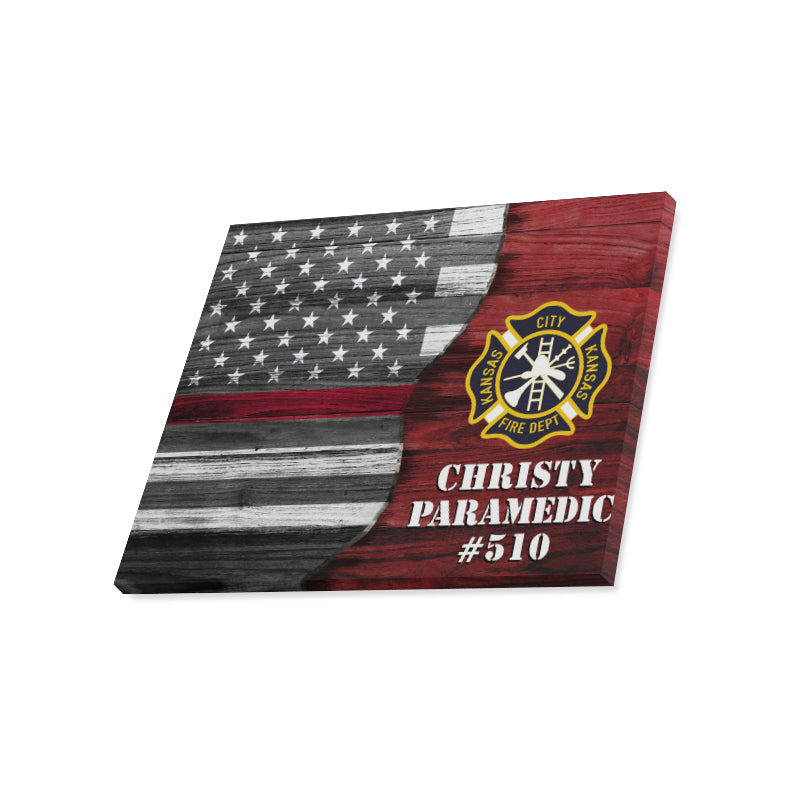 "Kansas City Kansas Fire Dept - Thin Red Line Flag Logo Text Framed Personalized Canvas Print 20""x16"""