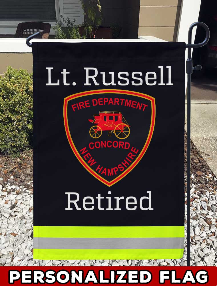 Concord NH Fire Department Uniform Personalized Garden Flag/Yard Flag 12 inches x 18 inches Twin-Side Printing