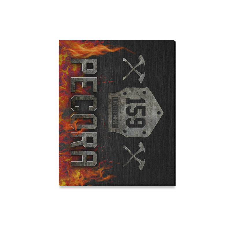 "Firefighter Badge Framed Personalized Canvas Print 20""x16"" (Made In USA)"