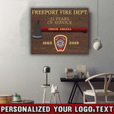 "Firefighter Proud To Served - Framed Personalized Logo & Text Canvas Print 20""x16"""