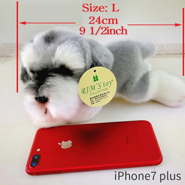 kawaii Schnauzer Dog Plush Toy Small Soft Simulation Kids Stuffed Animal Toys for Children Cute Photo Props Girls Birthday Gift