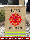 Firefighter Uniform Personalized Garden Flag/Yard Flag 12 inches x 18 inches Twin-Side Printing
