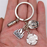 WKOUD 1pc Metal Flame Charm Fire badge & Fireman Hat & Fire Extinguisher Keychain DIY Creative Alloy Key Chain Hero Gift A1619