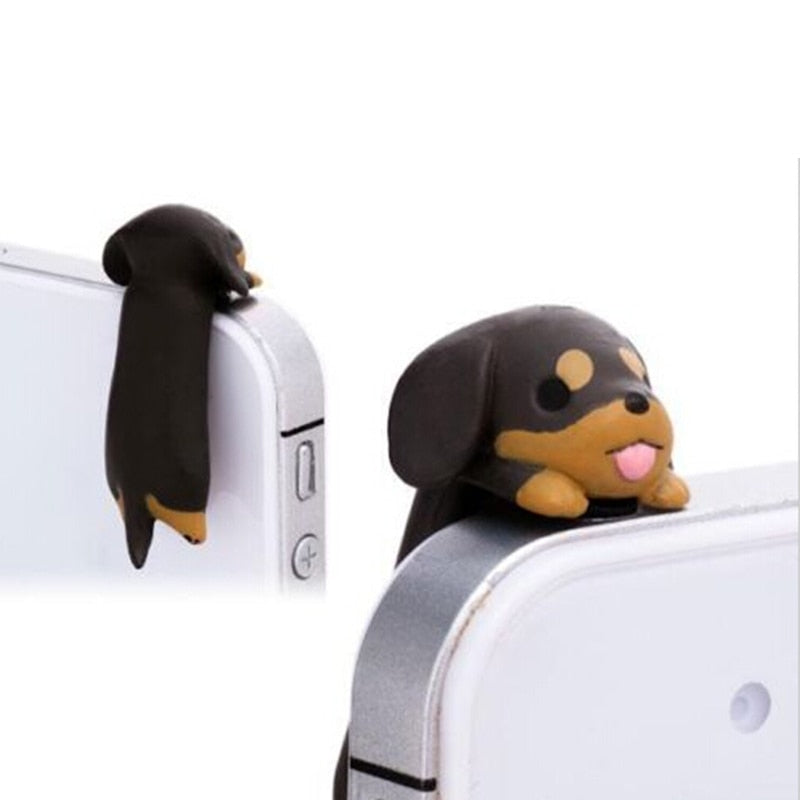 JINHF cute 3.5mm Earphone Anti Dust Plug Dachshund Puppy Dog Ear Jack Plug Cap for iPhone 4S 5C 5S for Samsung S3 S4 S5 Note 2 3
