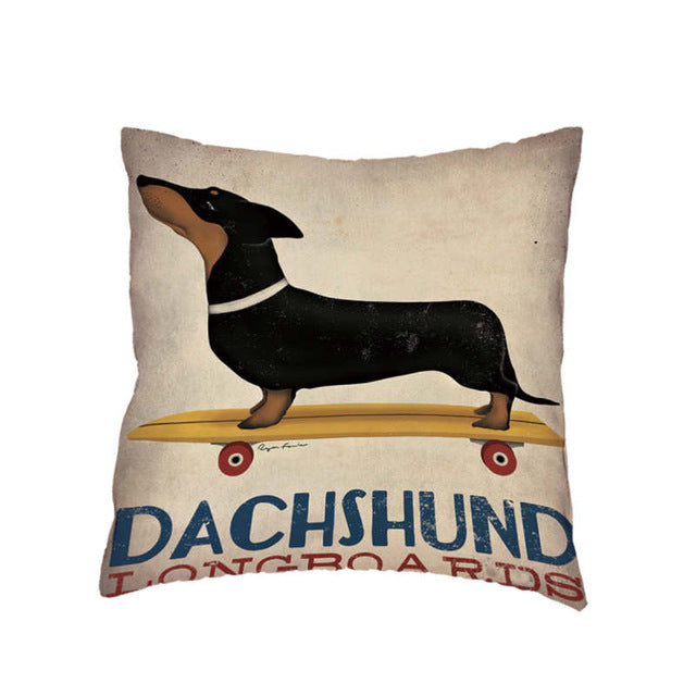 Dachshund Stylish Colorful Dog Corgi Bulldog White Cushion Cover Home Office Sofa Decoration Polyester Peach Skin  Pillow Cases