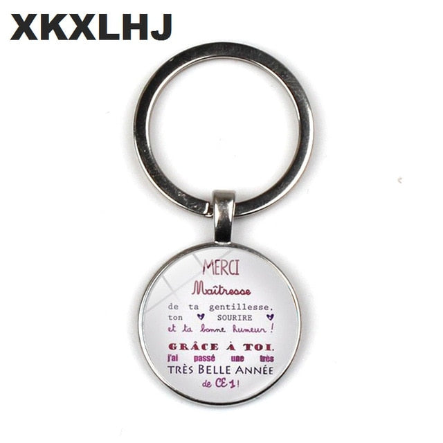 HOT! Merci Maitresse Key chain Ring Holder Fashion Silver Color Glass Metal Keychain For Men Women Jewelry Teachers Gift
