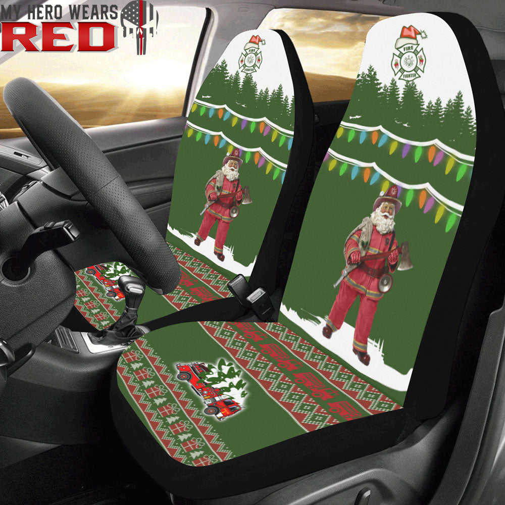 Firefighter Christmas Car Seat Covers (Set of 2)