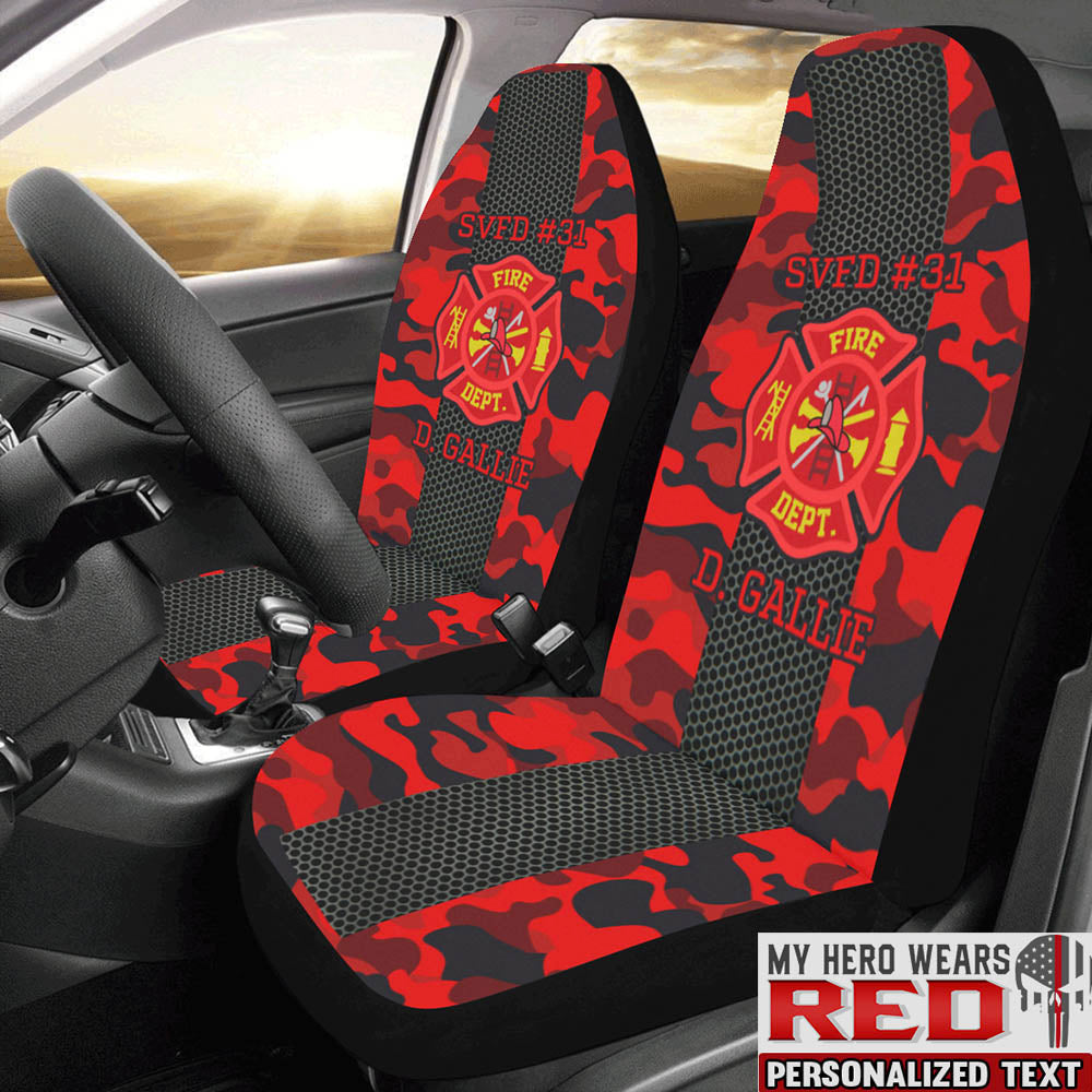 Camouflage Firefighter Personalized Text Car Seat Covers (Set of 2)