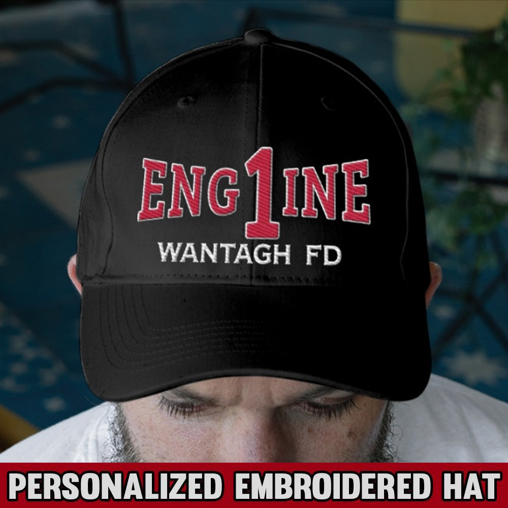 Engine Fire Dept. Personalized Text Embroidery Hat