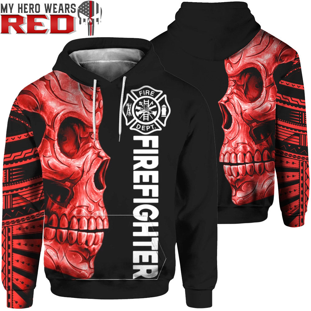 Firefighter Skull Red 3D Zip & Hoodies