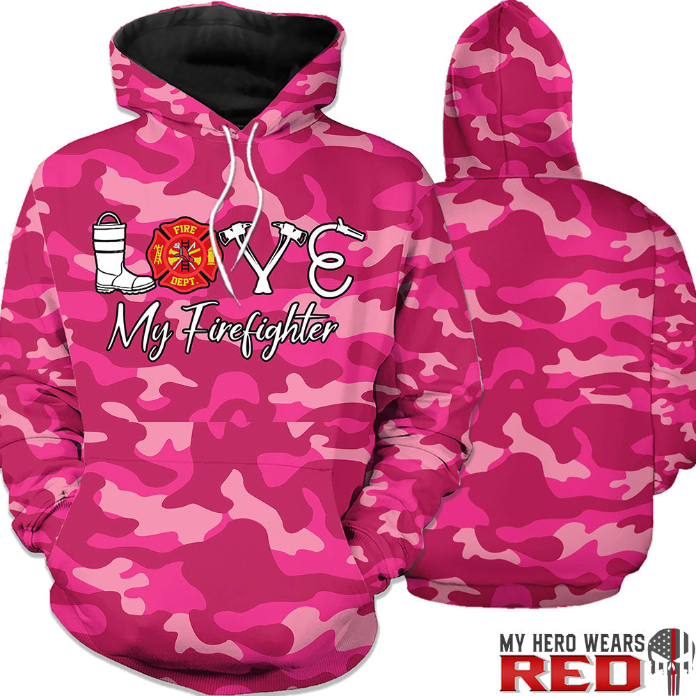Love My Firefighter Pink Camo Sweatshirts Hoodies