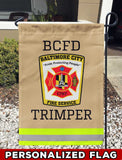 BALTIMORE FIRE SERVICE Uniform Personalized Garden Flag/Yard Flag 12 inches x 18 inches Twin-Side Printing