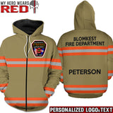 Firefighter Uniform Dark Tan Personalized Logo & Text 3D Hoodies