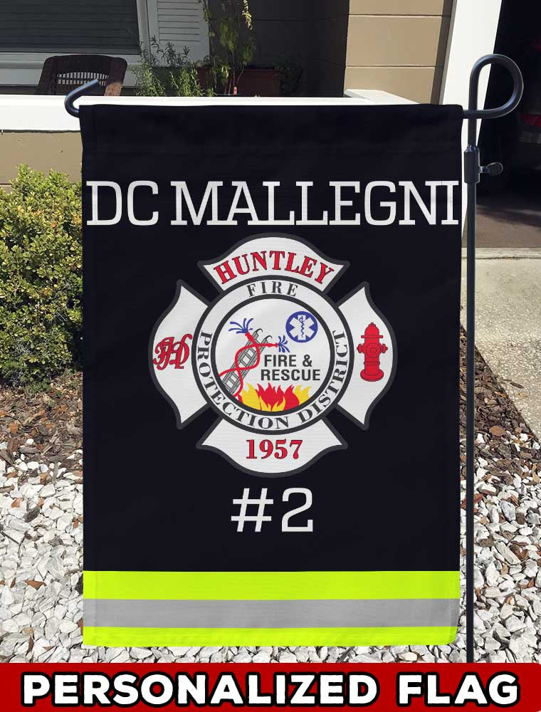 Huntley Fire Protection District Uniform Personalized Garden Flag/Yard Flag 12 inches x 18 inches Twin-Side Printing