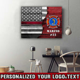 "U.S. Firefighter - Thin Red Line Flag Logo Text Framed Personalized Canvas Print 20""x16"""