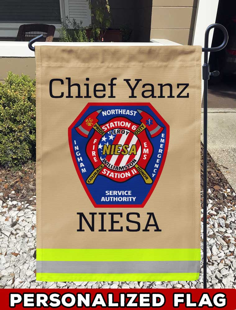 Northeast Ingham Emergency Service Authority Uniform Personalized Garden Flag/Yard Flag 12 inches x 18 inches Twin-Side Printing