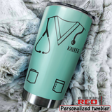 Personalized Stainless Steel Tumbler for Nurse in scrubs