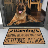 "German Shepherds and Their Attitudes Live Here Doormat 23.6""x15.7"""