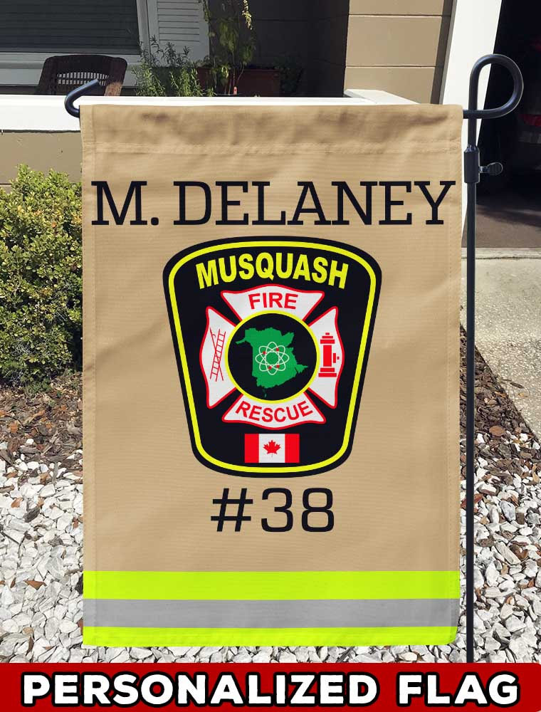 Musquash Fire Dept Uniform Personalized Garden Flag/Yard Flag 12 inches x 18 inches Twin-Side Printing