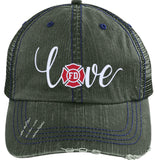 Love Firefighter Embroidered Hat - 6990 Distressed Unstructured Trucker Cap