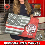 Personalized Canvas - U.S. Firefighter - Thin Red Line Flag Canvas