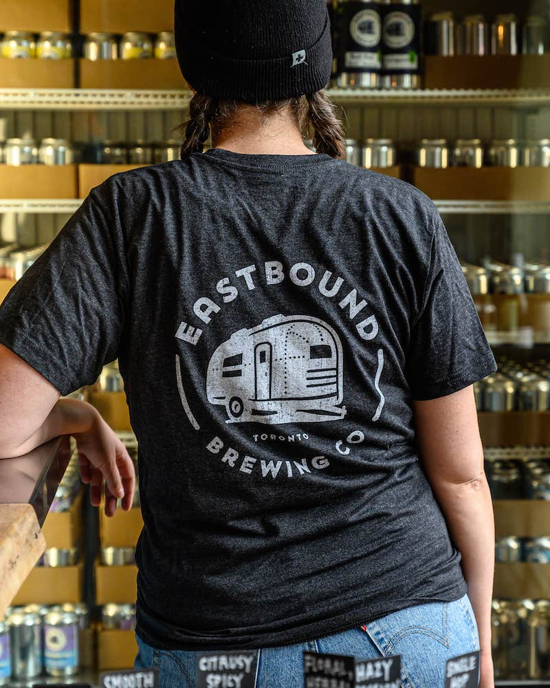 eastbound brewing company, toronto, brewpub, brewery, craft beer, riverside, beer, t-shirt, shirt, grey